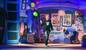 Sascha Grammel mit Luftballons