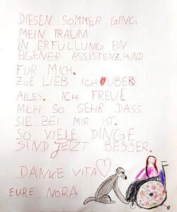 Brief von Nora an VITA e.V.
