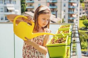 Kind gießt Balkonkästen